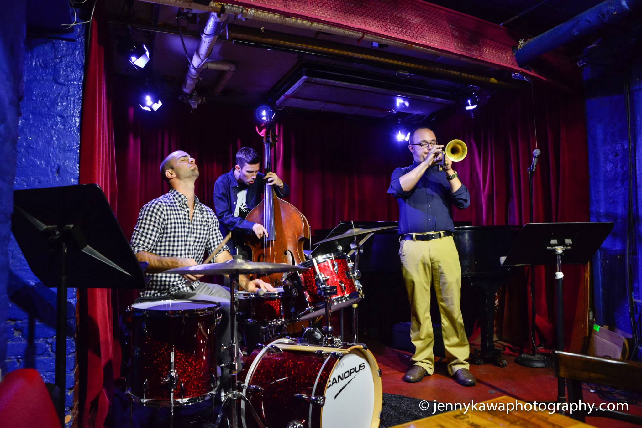 With Aidan Carroll and Jared Schonig at Cornelia Street Cafe. 9.30.14 Photo by Jenny Kawa