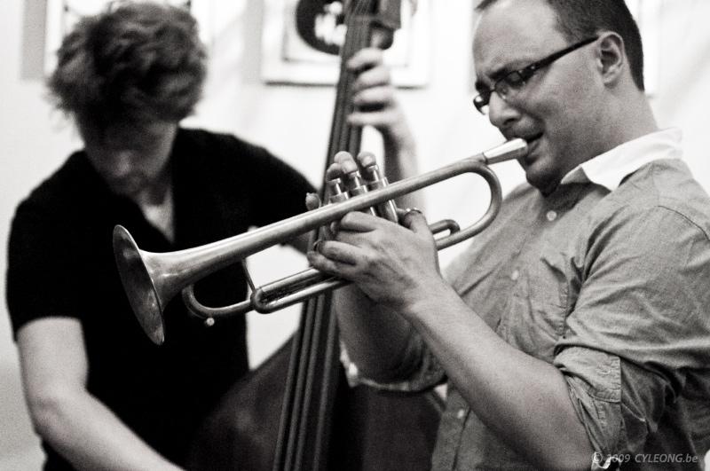 With the Bram Weijters Trio at Cafe Vertigo, Antwerp.  10.5.2009  Photo by Cy Leong.