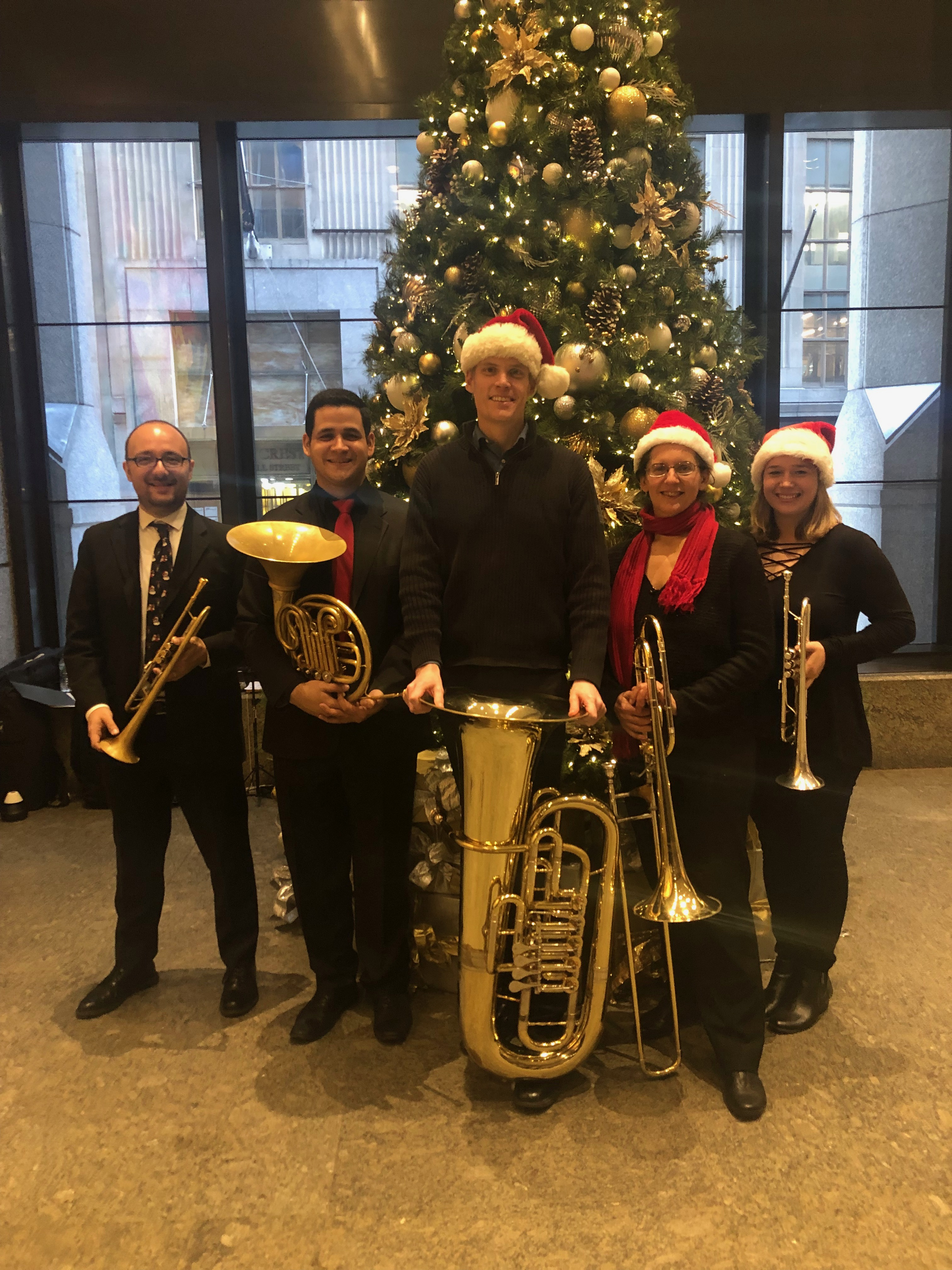 With the Prospect Brass Quintet at Deutsche Bank, Manhattan, 12.19.18